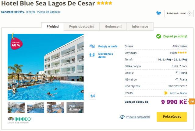 blue lagos - Tenerife s all inclusive letecky z Prahy za parádní cenu 9990 Kč - last minute