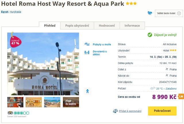 roma host - Egypt, Hurghada na 12 dní s all inclusive za 8990 Kč - last minute z Prahy