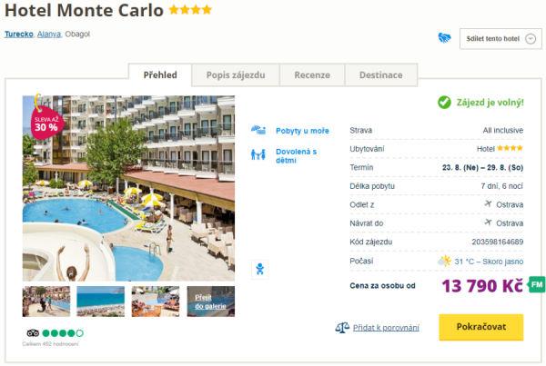 6445 - Turecko, Alanya letecky z Ostravy do skvělého 4* hotelu s all inclusive za 13790 Kč