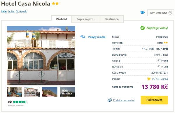 canic - Ischia na týden letecky z Prahy s polopenzí za 13780 Kč - skvělý hotel