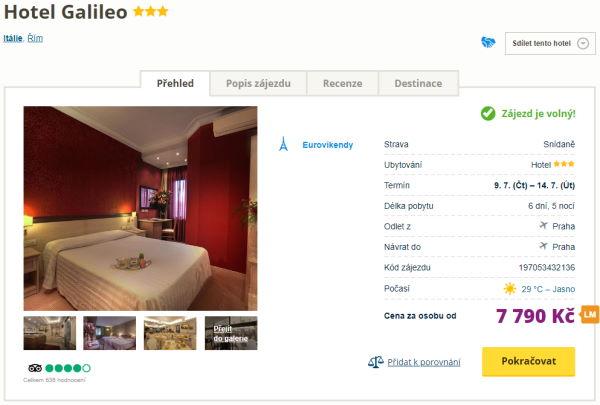 galileo - 6 denní eurovíkend v Římě ve 3* hotelu se snídaní za 7790 Kč letecky z Prahy