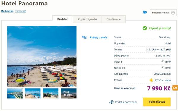 hopan - Bulharsko, Primorsko na 12 dní za 7990 Kč letecky z Brna