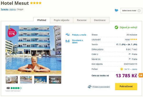 mesut2 - 4* all inclusive Turecko letecky z Prahy za 13785 Kč