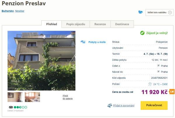 pp2 - Bulharsko s polopenzí na 12 dní za 11930 Kč - odlet z Prahy