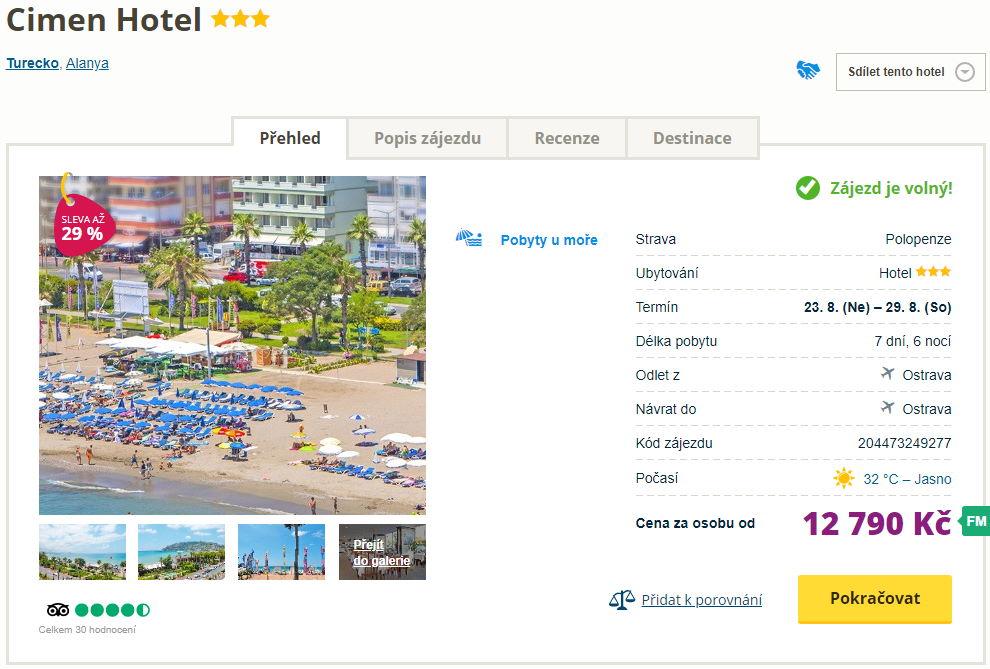 cih - Turecko s polopenzí na týden do skvělého 3* hotelu za 12790 Kč - odlet z Ostravy