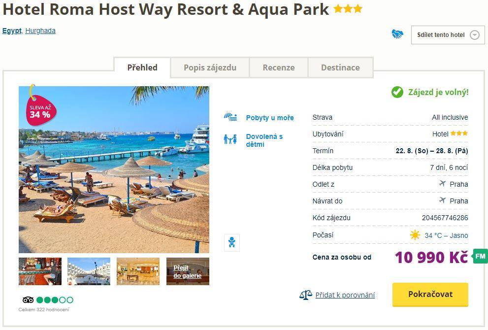 horo - Egypt, Hurghada na týden s all inclusive za 10990 Kč - odlet v srpnu z Prahy