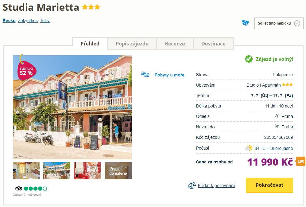 marietta - HIT! Řecko, Zakynthos na 11 dní s polopenzí za 11990 Kč - odlet z Prahy